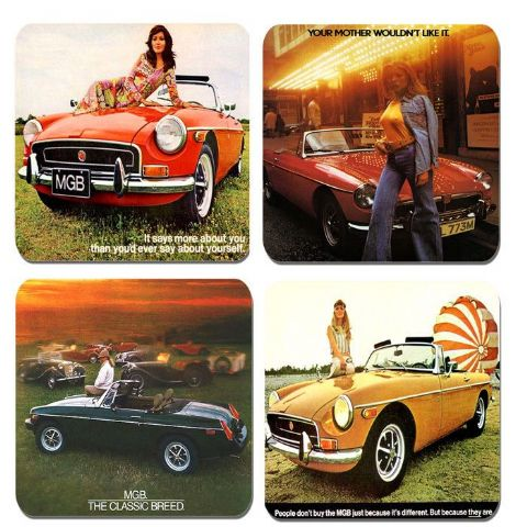Vintage MGB Classic Car Ad IV Brochure Drinks Coasters. Set Of 4. Quality Cork